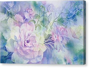 Butterflies-and-roses Canvas Print by Nancy Newman