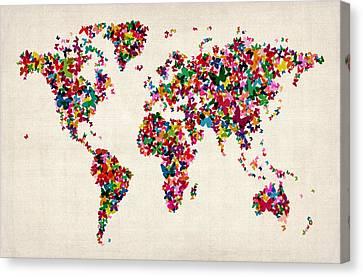 Butterflies Map Of The World Canvas Print by Michael Tompsett