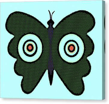 Butterfly And Bulls Eyes  Canvas Print by Jarmila Kostliva