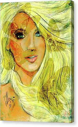 Canvas Print featuring the painting Butterfly Blonde by P J Lewis