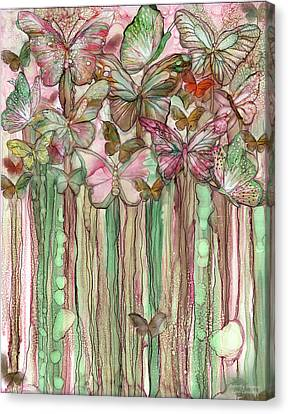 Canvas Print featuring the mixed media Butterfly Bloomies 1 - Pink by Carol Cavalaris