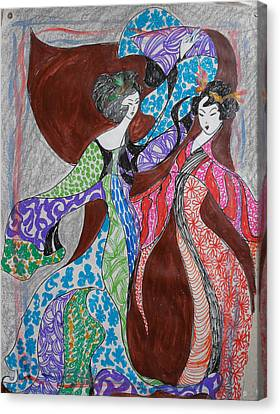 Butterfly Dance Canvas Print by Helene  Champaloux-Saraswati