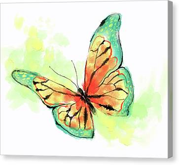 Butterfly Digital Watercolor Painting Canvas Print