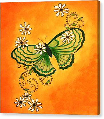Butterfly Doodle Canvas Print by Karen R Scoville
