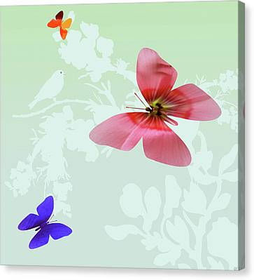 Butterfly Floral Canvas Print by Debra     Vatalaro
