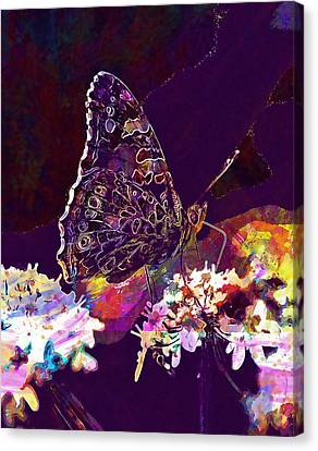 Canvas Print featuring the digital art Butterfly Flower Summer Forage  by PixBreak Art