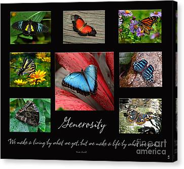 Canvas Print featuring the photograph Butterfly Generosity Collage by Diane E Berry