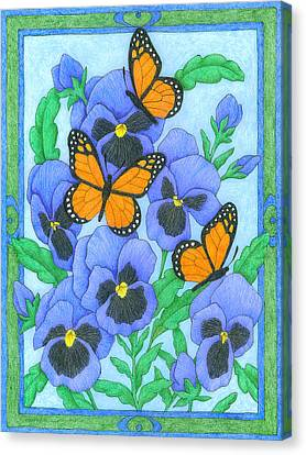 Butterfly Idyll-pansies Canvas Print