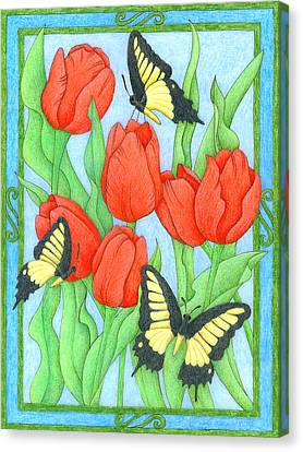 Butterfly Idyll-tulips Canvas Print