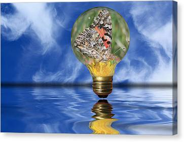 Butterfly In Lightbulb - Landscape Canvas Print by Shane Bechler