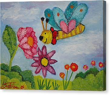 Butterfly In The Field Canvas Print by Ioulia Sotiriou