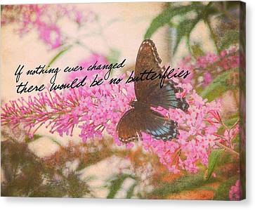 Butterfly Kisses Quote Canvas Print by JAMART Photography
