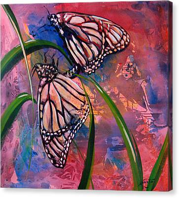 Butterfly Love Canvas Print by AnnaJo Vahle