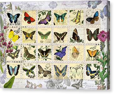 Postcards Canvas Print - Butterfly Maps by Aimee Stewart