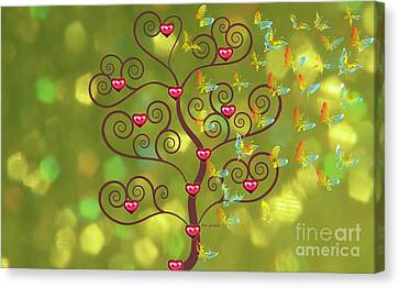 Butterfly Of Heart Tree Canvas Print