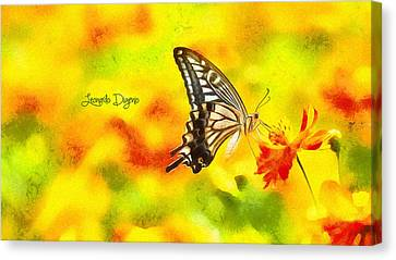 Butterfly On Flower - Da Canvas Print