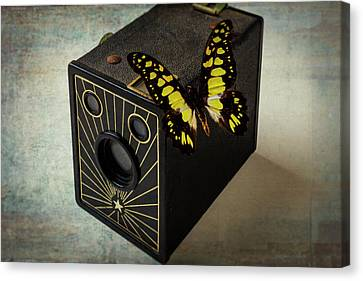 Butterfly On Old Camera Canvas Print by Garry Gay