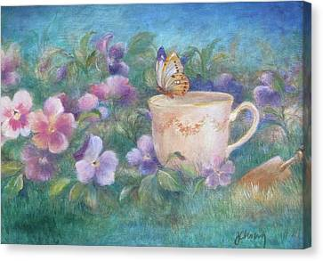 Canvas Print featuring the painting Butterfly On Teacup by Judith Cheng