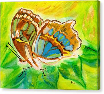 Malachite Butterfly Delight Canvas Print by Meryl Goudey