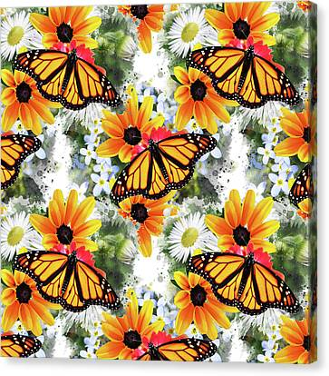 Canvas Print featuring the mixed media Butterfly Pattern by Christina Rollo