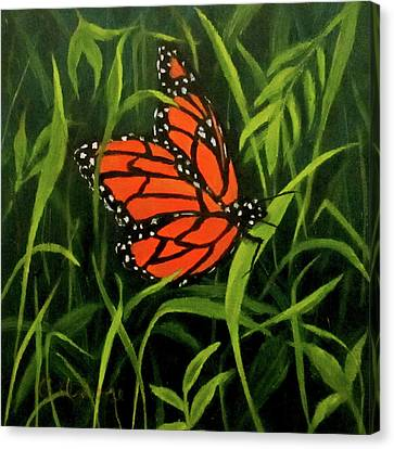 Canvas Print featuring the painting Butterfly by Roseann Gilmore