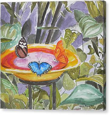 Canvas Print featuring the painting Butterfly Sanctuary At Niagara Falls by Geeta Biswas