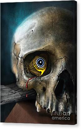 Butterfly Skull Canvas Print by Andre Koekemoer