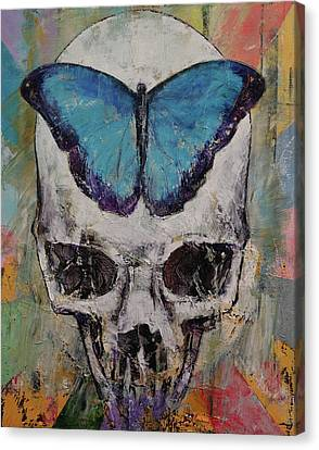 Butterfly Skull Canvas Print by Michael Creese