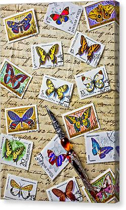 Butterfly Stamps And Old Document Canvas Print by Garry Gay
