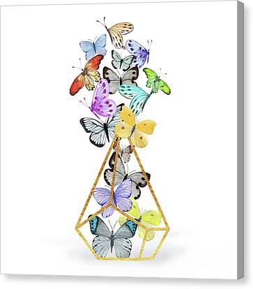 Butterfly Terrarium, Butterflies And A Gold Wire Terrarium Canvas Print by Tina Lavoie