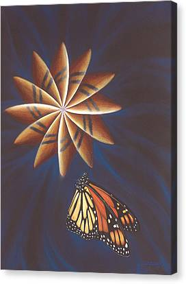 Butterfly Touching The Closed Portal Canvas Print by Robin Aisha Landsong