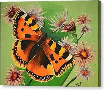 Butterfly With Asters Canvas Print