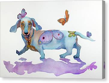 Canvas Print - Butterfly Doxie Doo by Marcia Baldwin