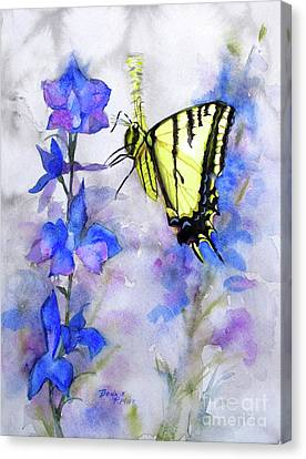 Canvas Print featuring the painting Butteryfly Delight by Bonnie Rinier