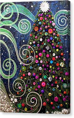 Button Tree 0012-holiday Canvas Print by Monica Furlow