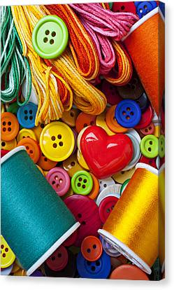Buttons And Thread Canvas Print by Garry Gay