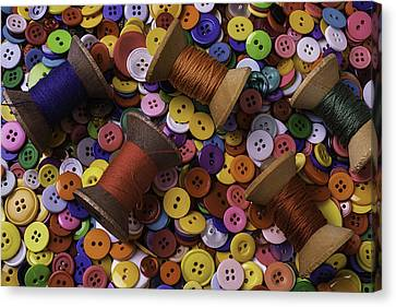 Buttons With Thread Canvas Print by Garry Gay