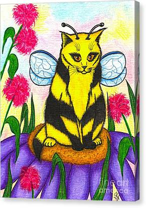 Buzz Bumble Bee Fairy Cat Canvas Print by Carrie Hawks
