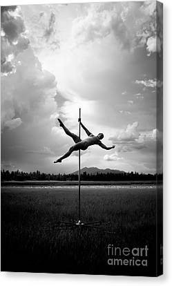 Bw Pole Dancing In A Storm Canvas Print