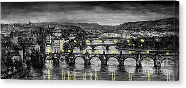 Bw Prague Bridges Canvas Print