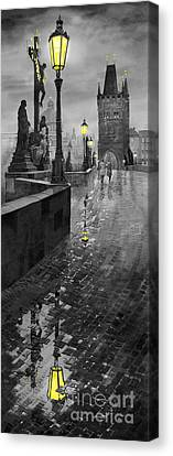 Bw Prague Charles Bridge 01 Canvas Print by Yuriy  Shevchuk