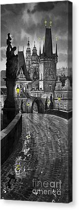 Bw Prague Charles Bridge 03 Canvas Print by Yuriy  Shevchuk