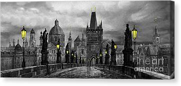Bw Prague Charles Bridge 04 Canvas Print by Yuriy  Shevchuk