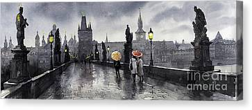 Bw Prague Charles Bridge 05 Canvas Print by Yuriy  Shevchuk