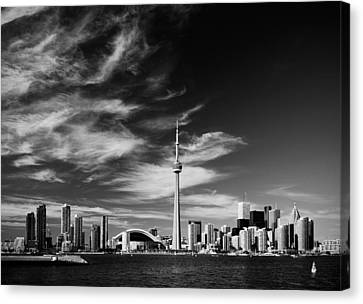 Bw Skyline Of Toronto Canvas Print by Andriy Zolotoiy