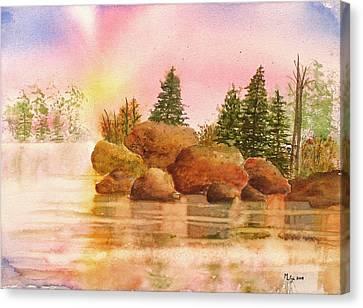 Bwcaw Sunrise Canvas Print by Midge Lilja