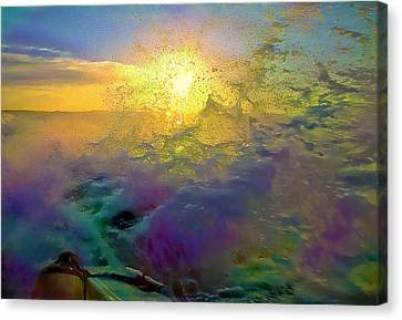 By A Boat On Ocean Canvas Print by Evgeny Parushin