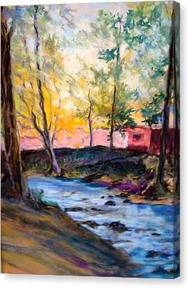 Canvas Print featuring the painting By Clear Blue Waters by AnnE Dentler