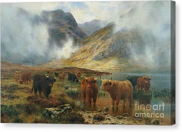 By Loch Treachlan, Glencoe, Morning Mists Canvas Print