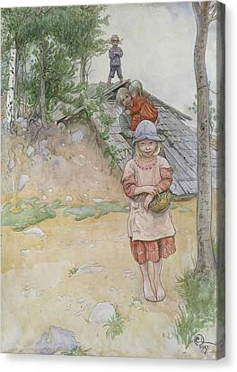 By The Cellar Canvas Print by Carl Larsson
